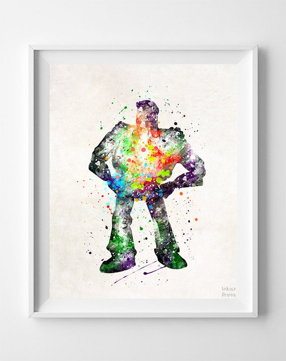 Buzz Lightyear Print, Toy Story, Disney, Type 2, Pixar, Watercolor Art, Gift, Baby, Christmas, Nursery Room, Easter Decorations
