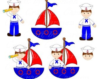 Sailor clip art, boat, baby boy, cute sailor, ahoy, baby shower, nautical, (personal & small business use). Transparent background