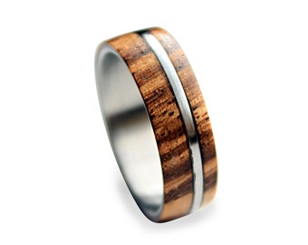 Titanium Ring for Men with Zebrano Wood Inlay and Titanium Pinstripe, Men's Wooden Ring