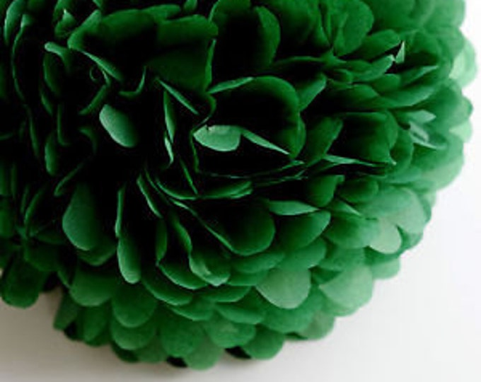Holiday Green Tissue Paper Pom, Holiday Green Pom, Green Tissue Paper Pom Pom, Green Paper Flower, Tissue Flower, Wedding and Birthday Decor