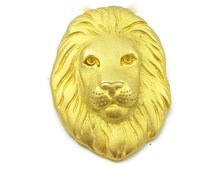Gold Tone Lions Head Pins Metal Pin Lion Brooch African Safari Animal Vintage Estate Jewelry Tribal Vintage Estate Gift Idea