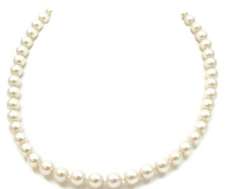 Avon Pearls 18 Inches Champagne Single Strand Pearl Necklace 8 MM Choker Faux Pearl Bridal Prom Vintage Costume Jewelry Wedding