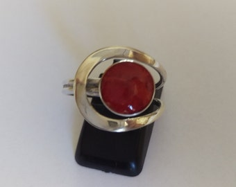 Handmade Solid 925 Sterling silver and coral ring .