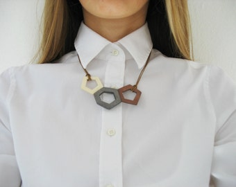 grey brown wooden necklace | small