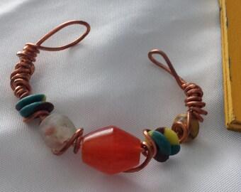 Copper Glass Trade bead bracelet