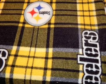 Custom made Throw Blanket with Pittsburgh Steelers Plaid Fleece Fabric- # 409