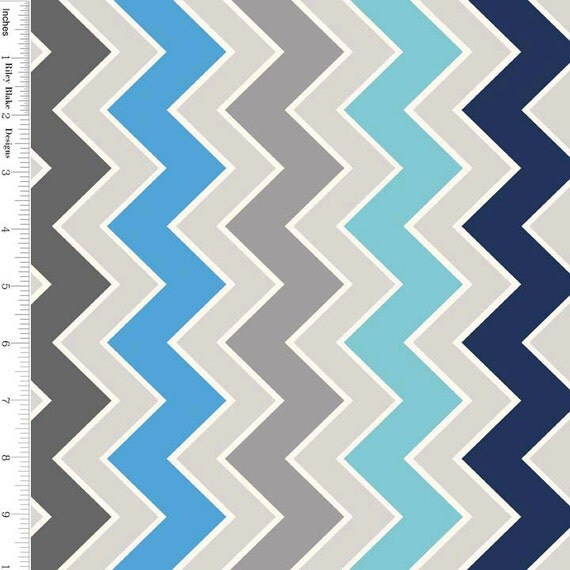 Blue & Gray Chevron Fabric, Riley Blake C780-05 Shaded Chevron ...