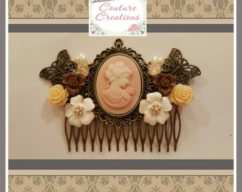 Bridal Hair comb 'Vintage Chic' Decorative Hair comb in Pink Cameo design  and Pastel Flower design.
