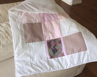 Baby Pink Quilt. Baby Patterns. Personalized Photo Memory Quilt. Patchwork Quilt. Nursery Quilt. Custom Photo Blanket. Camel & Pink Color