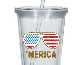 Patriotic Merica Tumbler // 4th of July cup // Fourth of July tumbler //