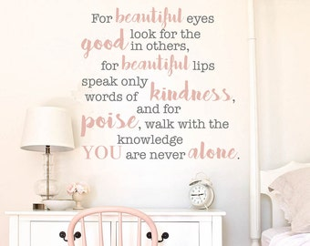 Audrey Hepburn Quote Vinyl Decal For beautiful eyes look for the good in others, Inspirational, Vinyl Wall Decoration, Vinyl Home Decor