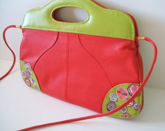 Upcycled handbag. Small handbag. Red bag - vegan bag with retro design. Avocado green bag. Flat handbag, crossbody bag, upcycled clutch