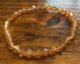 READY TO SHIP 6mm Transparent Champagne Bicone Faceted Glass Beaded Bracelet- large