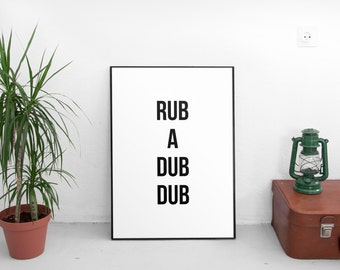 Rub A Dub Dub Print, Bathroom Print, Bathroom Art, Black and White Print, Kids Bathroom, Wall Print, Bathroom Printable, Bathroom Decor
