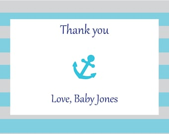 Personalized Nautical Baby Shower Thank You Notes