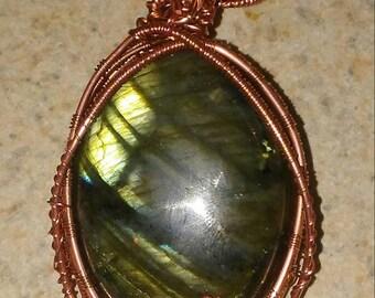 Wire wrapped labradorite stone- Boho jewelry.
