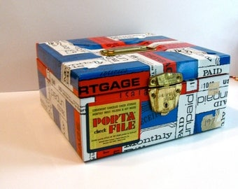 Metal File Box Vintage Red White and Blue Text 1970s Porta File
