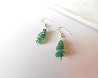 Green Aventurine Beaded Earrings - Dangle Earrings - Handmade Earrings - Gift for Her