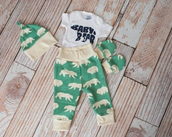 Newborn Coming Home Baby Bear Set Bodysuit, Hat, Scratch Mittens Set with Grey and Navy+ Baby Bear Bodysuit