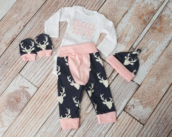 Newborn Coming Home Baby Deer Antlers/Horns Bodysuit, Hat, Scratch Mittens Set with Navy and Pink+ Glitter Just a Small Town Girl Bodysuit