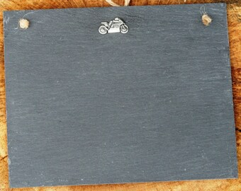 Motorbike 2 Design Slate Chalk Board Messages, Lists , Tally Chart, Reminders Motorsports Gift