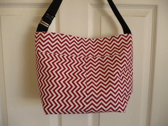 Red Chevron Bucket-Style Purse Diaper Bag