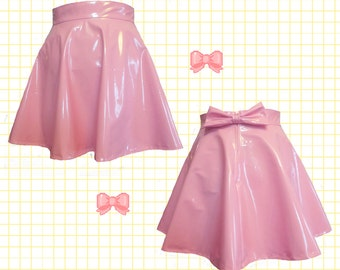 Pastel PINK PVC skater skirt with removable BOW back