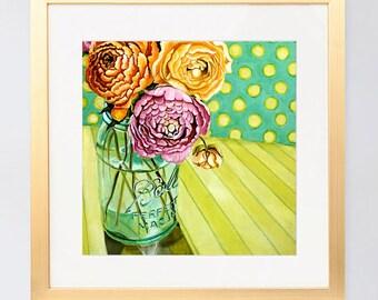 Ball Jar floral art, still life acrylic floral painting, floral wall art, mason jar, affordable art, small art, square art by Paula Prass