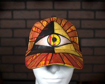 Custom Hand Painted All-Seeing Eye Iluminati Graffiti Hat