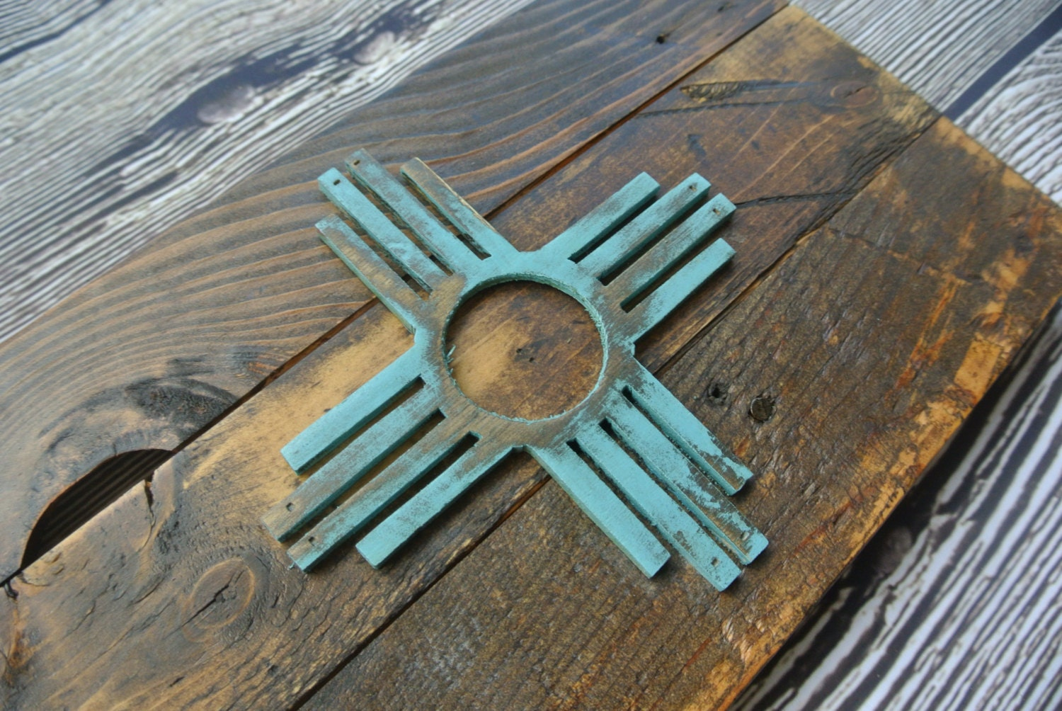 rustic d new mexico flag reclaimed pallet wood zia sante fe albuquerque aztec reclaimed wood weathered wall hanging home decor: new mexico home decor