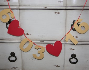 Wedding Date / Save the Date / Engagement Session / Photo Prop - Date Banner / Garland - Gold Numbers and Red Hearts (Silver Also Available)