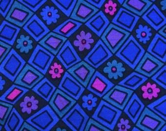 Vintage 60s / 70s fabric - groovy geometric floral - vibrant blue purple teal & pink