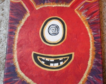 """Original Creature Painting by Jaime Alyssa on 8""""x10"""" stretched canvas red alien"""