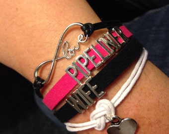 Pipeliner Wife Bracelet - hot pink, black and white.