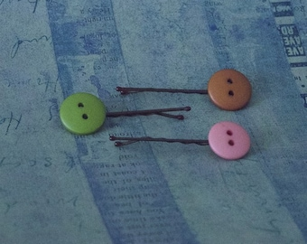 Button Bobby Pin Set of 3 - Pink, Green, Brown