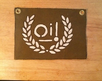 Hand made, Hand painted Oi! Laural wreath butt flap