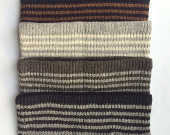 100% Alpaca Skinny Striped Lined Headband Perfect to beat the winter chill for both men and women