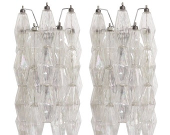 Clear polyhedral Murano glass wall sconces