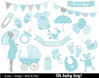 Baby Boy Shower Clipart, Baby Clipart, Baby Clip Art, Umbrella, Blue, stroller, onesie, bunting - Commercial & personal - BUY 2 GET 1 FREE!