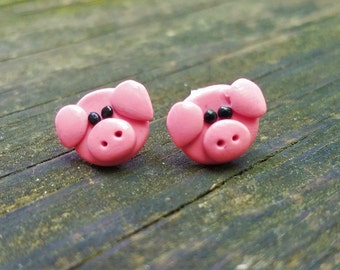 Pink Pig Earrings, Piglet Earrings, Pig Stud Earrings, Hypoallergenic, Little Piggies, Farm Animal Earrings, Swine Earrings