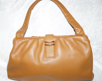 1950's Kelly-Bag Handle Bag Cognac Leather