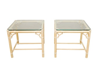 Pair Of Mcguire Bamboo Side Tables