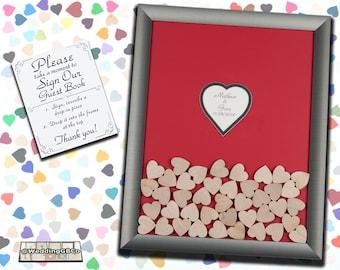 Unique Wedding Guest Book Wedding Guestbook Alternative Idea Wood Drop In Top Heart Shadow Box Frame