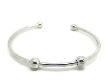 Sterling Silver Cuff Bracelet with Stopper Beads, Add A Bead Bracelet, Silver Bangle Bracelet, Bangle Bracelet, Silver Bracelet, Smart Beads