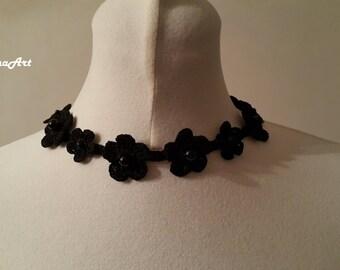 Crochet Necklace,Crochet Neck Accessory, Black, 100% Cotton.