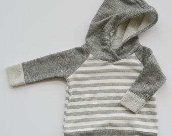 Heather Gray & White Striped Hoodie
