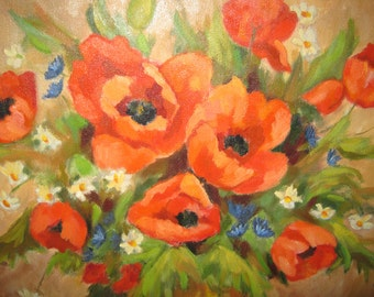 SALE ITEM!  Red Poppy Painting