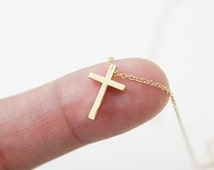 Tiny Gold Cross Charm Necklace . Cross Necklace . Dainty and Simple Necklace Birthday Gift Gift for Friends