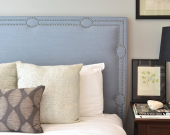 Upholstered Headboard, King, Queen, Full, Twin Size, Oxford Shaped, Slate Blue Linen Fabric, Antique Pewter Nailhead Trim w/ Circle Design