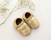 Gold Moccasins, Gold Baby Moccasins, Gold Toddler Moccassins, Baby Moccasins, Gold Baby Shoes, Soft Sole Moccasins, Baby Moccs